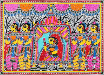 Bridal Procession Madhubani Painting from India