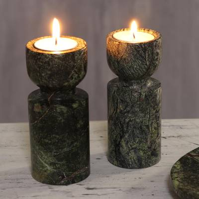 Marble tealight holders, 'Forest Glow' (5 inch, pair) - Natural Green Tealight Holders from India (5 Inch, Pair)
