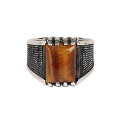 Men's tiger's eye ring, 'Bold Strength' - Men's Tiger's Eye Ring Crafted in India