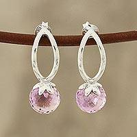 Amethyst drop earrings, 'Round Dazzle' - 4-Carat Amethyst Drop Earrings from India