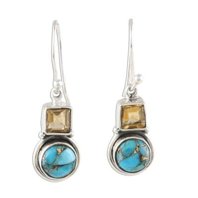 Square Citrine and Composite Turquoise Dangle Earrings
