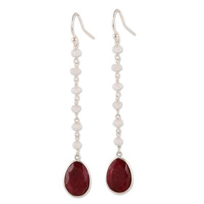 Ruby and rainbow moonstone dangle earrings, 'Raining Drops' - Ruby and Rainbow Moonstone Dangle Earrings from India