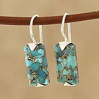 Composite turquoise drop earrings, Beautiful Blue