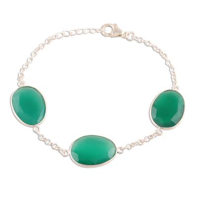 42.5-Carat Green Onyx Station Bracelet from India