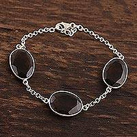Smoky quartz station bracelet, 'Glistening Eggs' - 42.5-Carat Smoky Quartz Station Bracelet from India