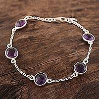 Amethyst station bracelet, 'Fantastic Princess' - 10-Carat Amethyst Station Bracelet from India