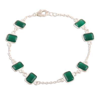 6.5-Carat Green Onyx Station Bracelet from India