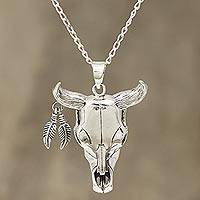 Men's sterling silver pendant necklace, 'Mighty Bull' - Sterling Silver Bull Skull Necklace from India