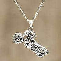 Men's sterling silver pendant necklace, 'Easy Rider' - Men's Sterling Silver Motorcycle Pendant Necklace from India