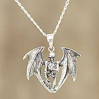 Men's sterling silver pendant necklace, 'Flying Skeleton' - Sterling Silver Winged Skeleton Pendant Necklace from India