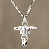 Men's sterling silver pendant necklace, 'Daring Bull' - Sterling Silver Bull Skull Pendant Necklace from India