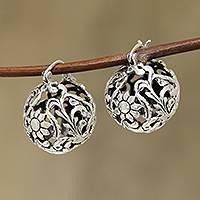 Sterling silver drop earrings, 'Floral Ball' - Sterling Silver Floral Orb Drop Earrings from India