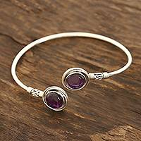 Amethyst cuff bracelet, 'Black Holes' - Purple Amethyst Cuff Bracelet Crafted in India