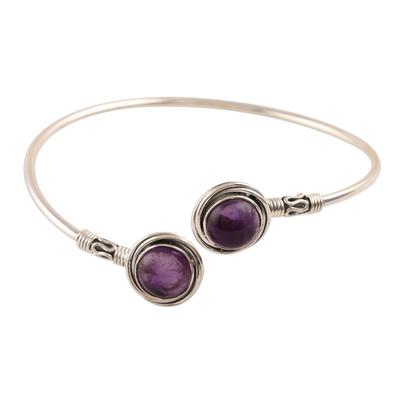 Amethyst cuff bracelet, 'Black Holes' - Purple Amethyst Cuff Bracelet Crafted in India