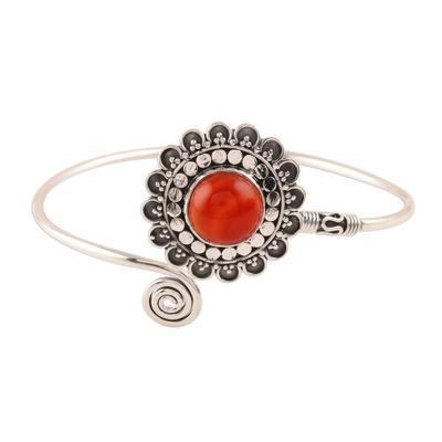 Carnelian cuff bracelet, 'Floral Dusk' - Floral Carnelian Cuff Bracelet Crafted in India
