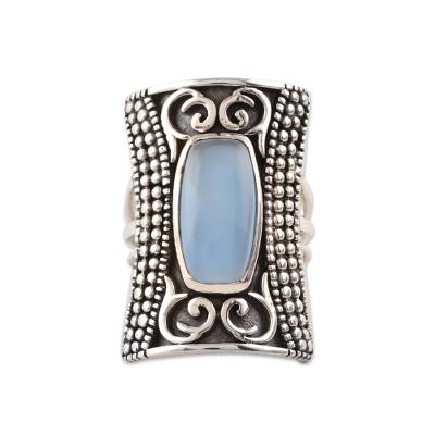 Patterned Blue Chalcedony Cocktail Ring from India