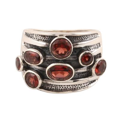 Garnet cocktail ring, 'Scarlet Passion' - Faceted Garnet Cocktail Ring from India