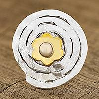 Cultured pearl cocktail ring, 'Spiral Flower' - Spiral Pattern Floral Cultured Pearl Cocktail Ring