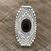 Onyx cocktail ring, 'Midnight Style' - Patterned Onyx Cocktail Ring from India