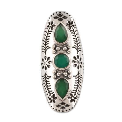 Onyx cocktail ring, 'Forest Dazzle' - Floral Green Onyx Cocktail Ring from India
