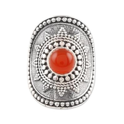 Carnelian cocktail ring, 'Red-Orange Sun' - Red-Orange Carnelian Cocktail Ring from India