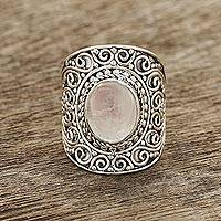 Rainbow moonstone cocktail ring, 'Moonlight Swirls' - Swirl Pattern Rainbow Moonstone Cocktail Ring from India