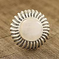 Rainbow moonstone cocktail ring, 'Moonlight Blaze' - Round Rainbow Moonstone Cocktail Ring from India