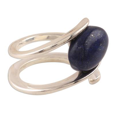 Lapis lazuli cocktail ring, 'Lapis Glory' - Tension-Set Lapis Lazuli Cocktail Ring from India