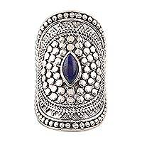 Lapis lazuli cocktail ring, 'Royal Cabochon' - Lapis Lazuli Cocktail Ring Crafted in India