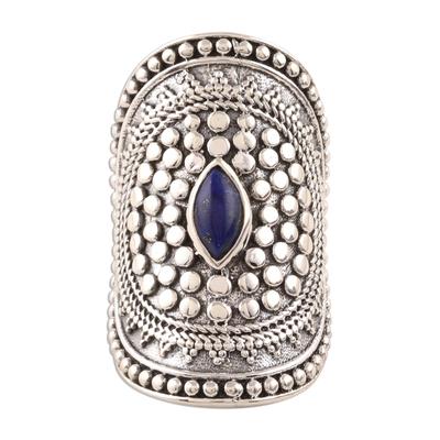 Lapis lazuli cocktail ring, 'Royal Cabochon' - Lapis Lazuli Cocktail Ring Crafted in India