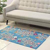 Wool area rug, 'Tiger Delight' (3x5) - Floral and Tiger Motif Wool Area Rug from India (3x5)