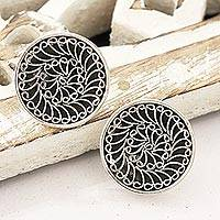 Sterling silver button earrings, 'Beatific Swirls' - Swirl Pattern Sterling Silver Button Earrings from India