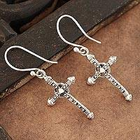 Sterling silver dangle earrings, 'Faithful Dazzle' - Sterling Silver Cross Dangle Earrings from India