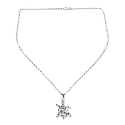 Sterling silver pendant necklace, 'Turtle Friend' - Sterling Silver Turtle Pendant Necklace from India