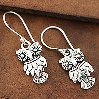 Sterling silver dangle earrings, 'Night Vision' - Sterling Silver Owl Dangle Earrings from India