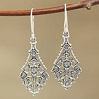 Sterling silver dangle earrings, 'Garden Gateway' - Openwork Sterling Silver Dangle Earrings Crafted in India