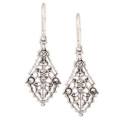 Sterling silver dangle earrings, 'Garden Gateway' - Openwork Sterling Silver Dangle Earrings Crafted in India
