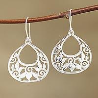 Sterling silver dangle earrings, 'Petal Greetings'