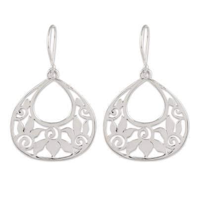 Sterling silver dangle earrings, 'Petal Greetings' - Openwork Pattern Sterling Silver Dangle Earrings from India