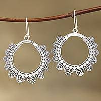 Sterling silver dangle earrings, 'Glamorous Petals' - Petal Pattern Sterling Silver Dangle Earrings from India