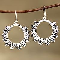 Sterling silver dangle earrings, 'Glamorous Petals'