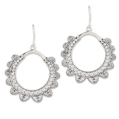 Sterling silver dangle earrings, 'Glamorous Petals' - Petal Pattern Sterling Silver Dangle Earrings from India