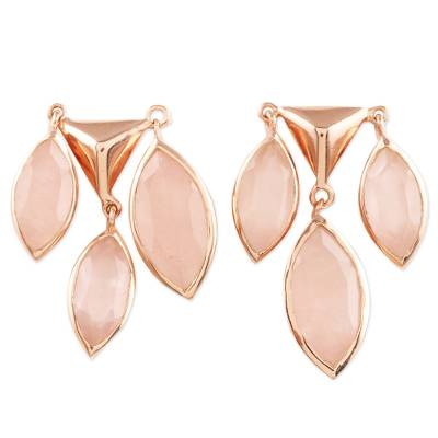 Rose gold plated rose quartz chandelier earrings, 'Rosy Princess' - Rose Gold Plated Rose Quartz Chandelier Earrings from India