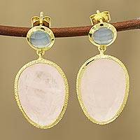 Gold plated rose quartz and chalcedony dangle earrings, 'Sparkling Muse' - Gold Plated Rose Quartz and Chalcedony Dangle Earrings