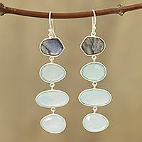 Chalcedony and labradorite dangle earrings, 'Fantastic Mist' - 38-Carat Blue Chalcedony and Labradorite Dangle Earrings