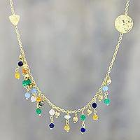 Gold plated multi-gemstone waterfall necklace, 'Rainbow Drizzle' - Gold Plated Multi-Gemstone Waterfall Necklace from India