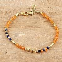 Gold plated onyx and lapis lazuli beaded bracelet, 'Dainty Harmony' - Gold Plated Orange Onyx and Lapis Lazuli Beaded Bracelet