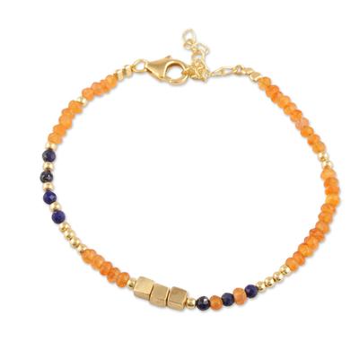 Gold plated onyx and lapis lazuli beaded bracelet, 'Dainty Harmony' - Gold Plated Orange Onyx and Lapis Lazuli Beaded Bracelet