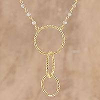 Gold plated labradorite pendant necklace, 'Golden Rope'