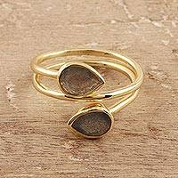 Gold plated labradorite wrap ring, 'Golden Aurora'